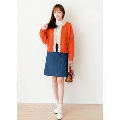 J-ANN - Dual-Pocket Contrast-Trim Wool Blend Cardigan