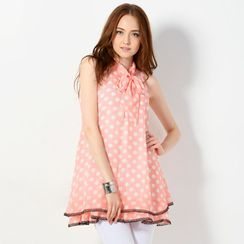 YesStyle Z - Sleeveless Tie-Front Polka Dot Dress with Cord