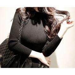 Marlangrouge - Mock-Neck Godet Knit Mini Dress