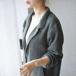JUSTONE - Notched-Lapel Wool Blend Knit Coat