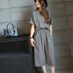 Fashion Street - 套裝: 短袖格子上衣 + 七分寬腿褲