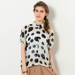 YesStyle Z - Dolman Sleeve Sheer Polka Dot Blouse