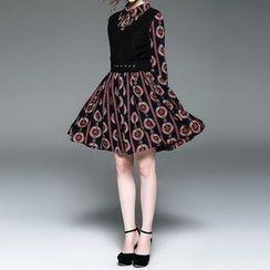Alaroo - 套裝: 印花A字連衣裙 + V領馬甲