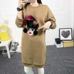 Dream Girl - Pompom Cartoon Pullover Dress