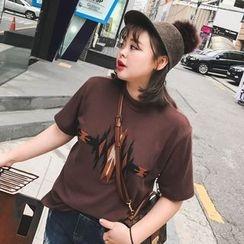 Jinggu Studio - 刺繡短袖T恤