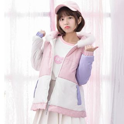 Moriville - Color Block Unicorn Hooded Padded Jacket