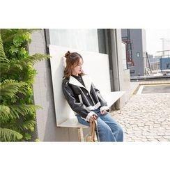 Eva Fashion - Fleece-lined Biker Jacket