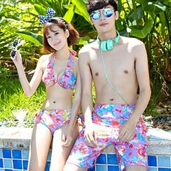 Sunset Hours - Couple Matching Floral Print Halter Bikini / Swim Shorts