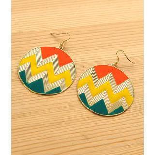 Petit et Belle - Chevron Print Disc Earrings