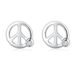 MBLife.com - Left Right Accessory - 9K/375 白色黃金和平符號鑲鑽耳環