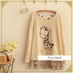 Fairyland - Giraffe Appliqué Long-Sleeve Layered Top