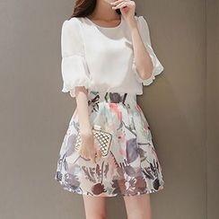 Enjoi - Set: Frill Sleeve Chiffon Top + Printed Skirt