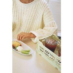 CHERRYKOKO - Drop-Shoulder Chunky-Knit Sweater