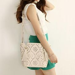 Axixi - Faux-Leather Perforated Shoulder Bag