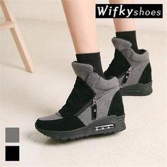 Wifky - Zip-Detail Contrast-Panel High-Top Sneakers