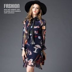 Ozipan - Long-Sleeve Bow-Accent Printed Dress