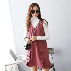 PIPPIN - Frill-Trim Dual-Pocket Mini Jumper Dress