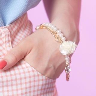 Tokyo Fashion - Flower-Charm Faux-Pearl Bracelet