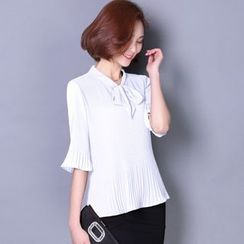 Emeline - Flared Elbow-Sleeve Tie-Neck Chiffon Blouse