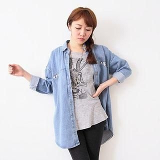 D.P-Shop - Letter-Print Denim Long Blouse