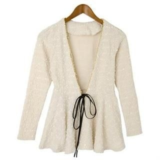 Cookie 7 - Glitter-Piped Peplum Cardigan