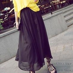 TAKIYAS - Pleated Chiffon Maxi Skirt