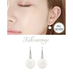 Miss21 Korea - Faux-Pearl Silver Hook Earrings
