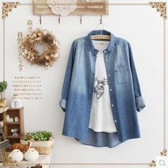 Forest Girl - Long-Sleeve Washed Denim Shirt