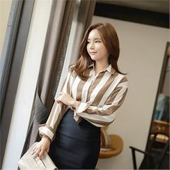 CHICLINE - Long-Sleeve Color-Block Blouse