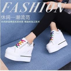 Yoflap - Platform Hidden Wedge High Top Lace Up Sneakers