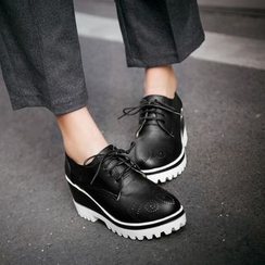Shoes Galore - Platform Pointelle Oxfords