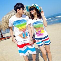 NINETTE - 套裝: 印花T恤 + 沙灘短褲