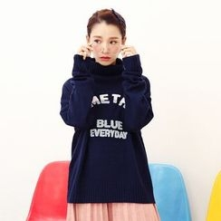 Porta - High Neck Lettering Sweater