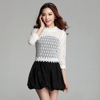 Muzi - 3/4-Sleeve Crochet Panel Bubble-Hem Minidress