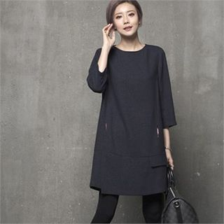 HALUMAYBE - Round-Neck Shift Dress