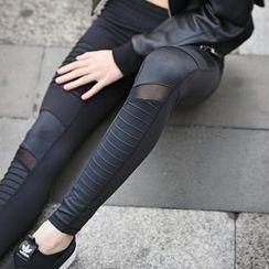 FAYE - 薄紗拼接瑜伽褲