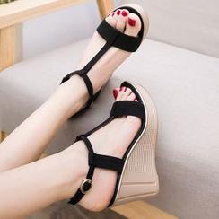 Hannah - T-Strap Wedge Sandals