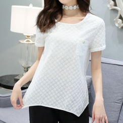 Cobogarden - Lace Panel Short-Sleeve T-Shirt