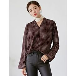 FROMBEGINNING - Notched-Collar Patterned Blouse