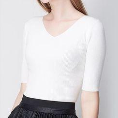 KASHAN - Short-Sleeve Rib Knit Top