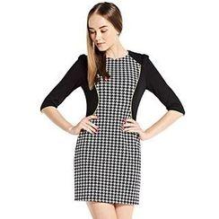 O.SA - Elbow-Sleeve Houndstooth-Panel Dress