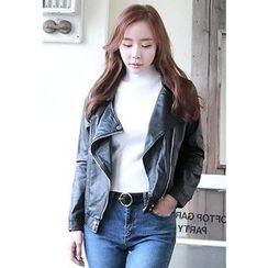 Dalkong - Diagonal-Zip Faux-Leather Rider Jacket