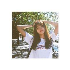 CHERRYKOKO - Round-Neck Lettering T-Shirt