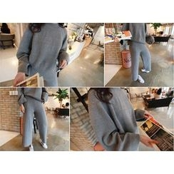 MARSHMALLOW - Set: Round-Neck Knit Top + Elastic-Waist Knit Pants
