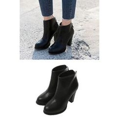migunstyle - Zip-Back Chunky-Heel Ankle Boots