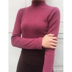 FROMBEGINNING - Mock-Neck Slim-Fit Knit Top