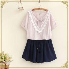 Fairyland - Crochet Trim Short-Sleeve T-Shirt