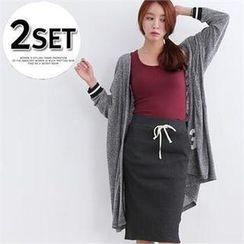 DL jini - Set: Lettering Long Cardigan + Drawstring-Waist Ribbed Skirt
