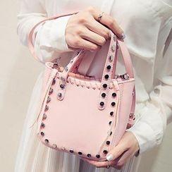 Youme - Whip Stitch Detail Studded Shoulder Bag