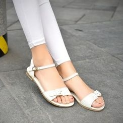 Shoes Galore - Buckled Genuine Leather Sandals